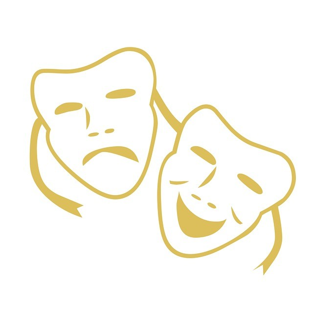 Masques de théâtre, l'un triste, l'autre gai